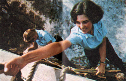 Women Recruits Climbing Ropes