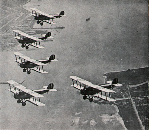 Navy planes of 1923 vintage set out on training flight.