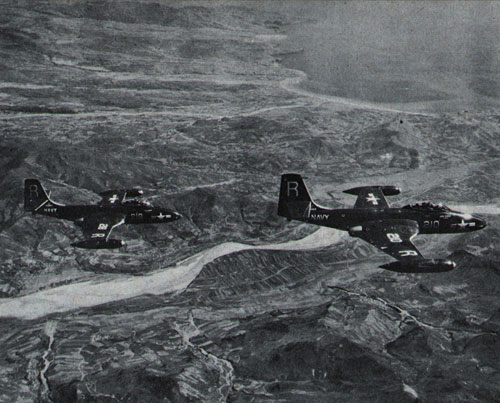 Banshees from USS Essex (now CVS-9) hunt enemy in Korea.