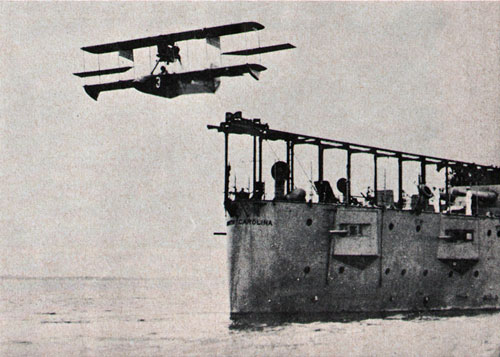 Navy Plane Catapults From Deck Of USS North Carolina In 1915
