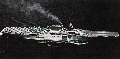 TWO AND FOUR—USS Lexington (CV 2) cruises in 1938.