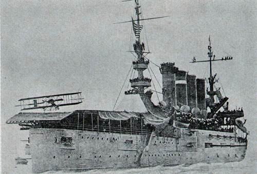 This was the landing on—and taking off from—the deck of the armored cruiser, uss Pennsylvania, in 1911