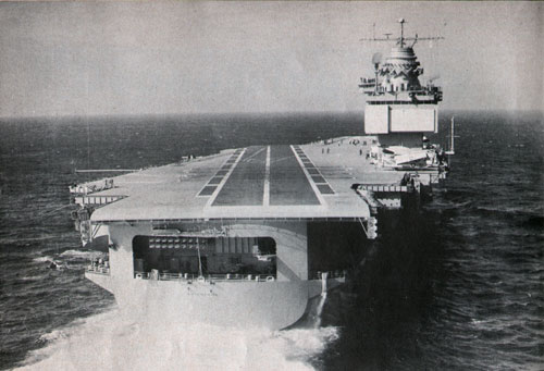 PILOT's EYE VIEW of approach for landing on the deck of USS Enterprise