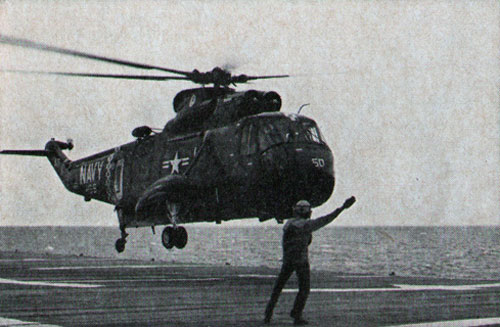 BOXER helicopter is set down on flight deck of the LPH
