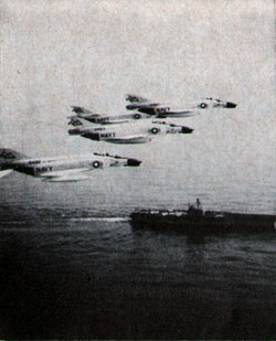 F-4 PHANTOMS from Forrestal overfly the carrier during her Mediterranean operations.