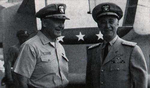 COMNAVAIRLANT, Vice Admiral C. T. Booth, is welcomed aboard America