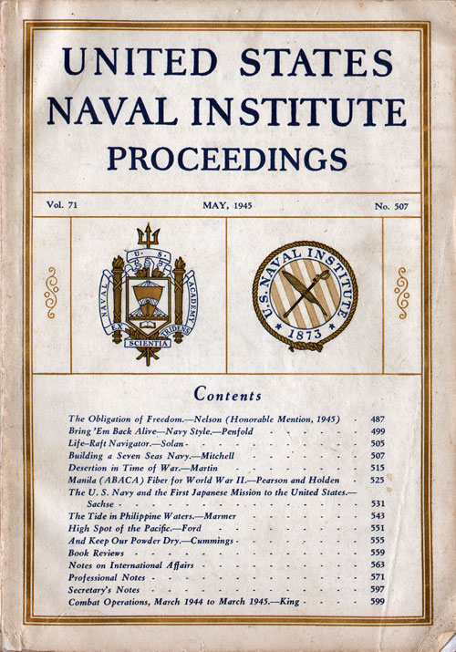 May 1945 Issue of United States Naval Institute Proceedings