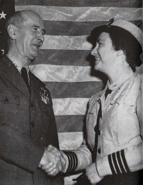 Admiral Ernest J. King and WAVES Captain Mildred McAfee