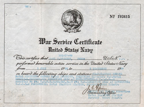 War Service Certificate - United States Navy - Paul C. Dickert, PhM2c  1919