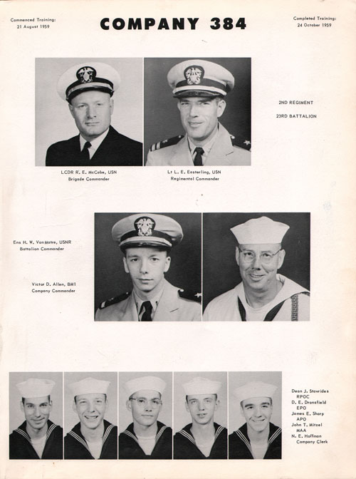 1959 Company 384 USNTC Great Lakes Recruits Page 1