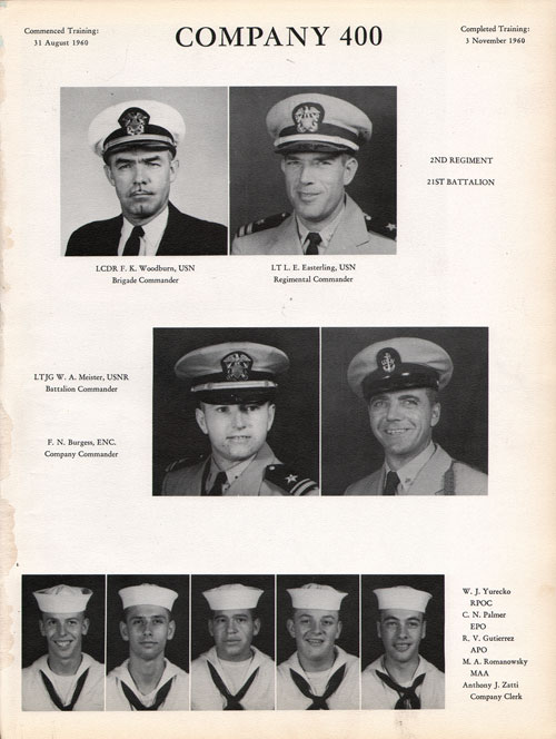 1960 Company 400 USNTC Great Lakes Recruits Page 1