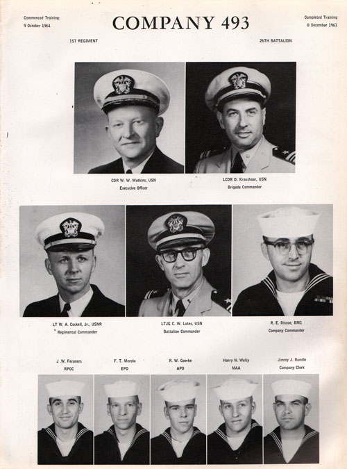 1961 Company 493 USNTC Great Lakes Recruits Page 1