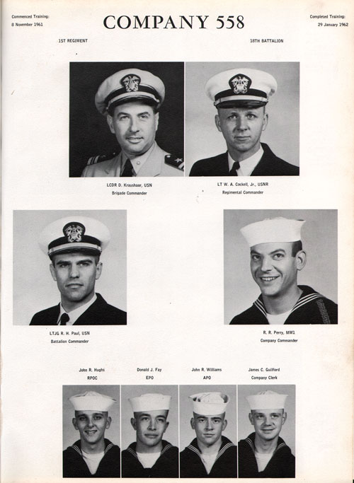 1961 Company 558 USNTC Great Lakes Recruits Page 1