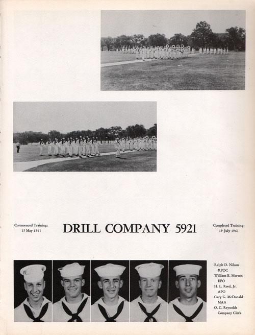 1961 Drill Company 5921 USNTC Great Lakes Recruits Page 1
