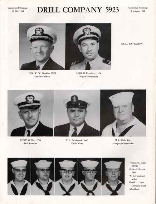 1961 Drill Company 5923 USNTC Great Lakes Recruits Page 1