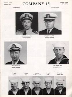 Recruits, USNTC Great Lakes Company 64-015, Page One