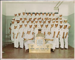 "Group photograph of Class 4445-D Machinist's Mate ""A"" School, Graduated 9 July 1971. Click to View Larger Image."