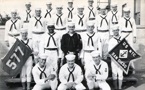 Group Photo of Company 64-577 Commander R. H. Bliss, MM1, and Petty Officers, 25 January 1965