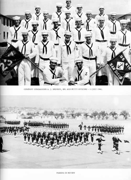 Group Photo of Company 66-237 Commander A. J. Brinson, BR1 and Petty Officers, 11 July 1966, Passing in Review.