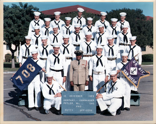 1969-12-12 Group Photograph Company 708 Company Commander and Petty Officers