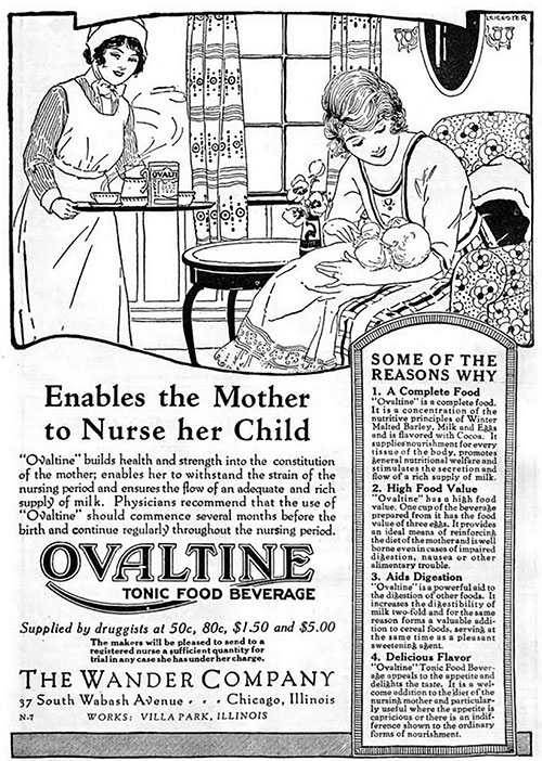 Ovaltine Enables the Mother to Nurse her Child - 1922 Ad
