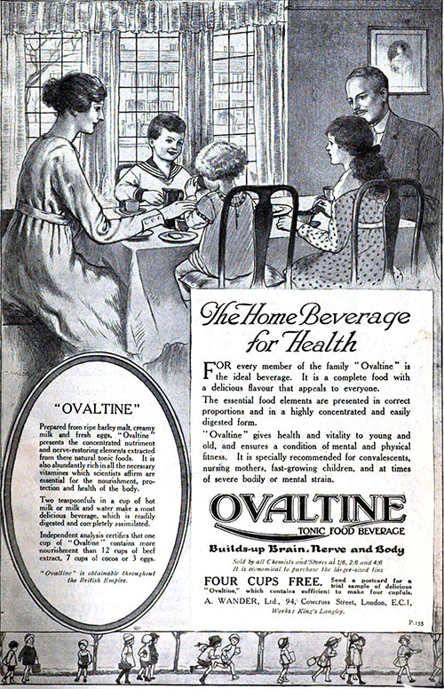 Ovaltine - The Home Beverage for Health - 1918 Ad