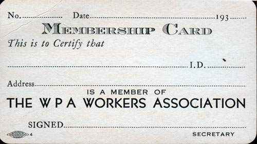 WPA Membership Card from the 1930s