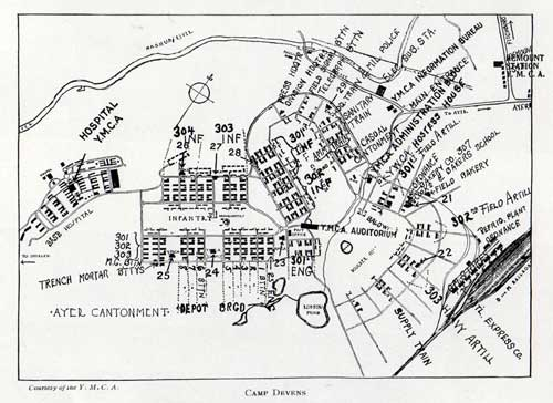 Map of Camp Devens - World War I Cantonment