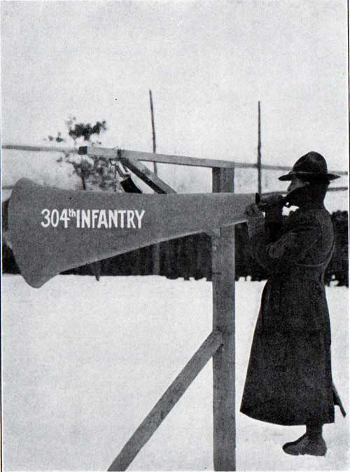 The Bugler, 304th Infantry performing Mess Call at Camp Devens