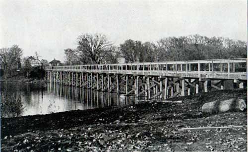 Temporary bridge across Rock River