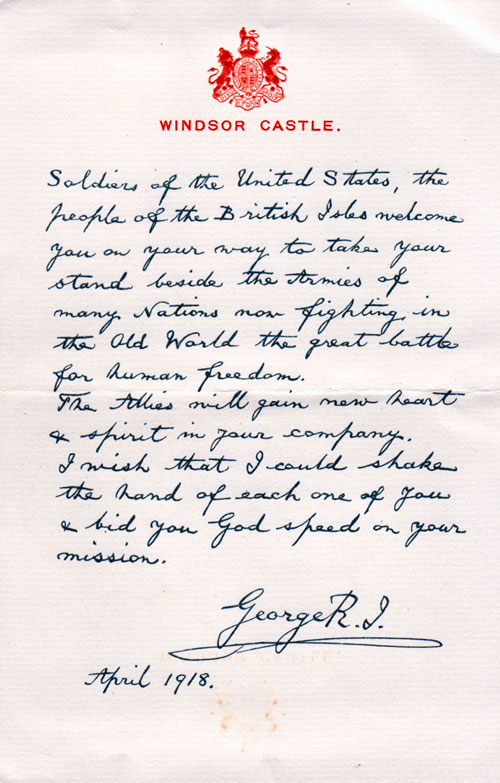 Letter to Soldiers of The United States from King George V - April ...
