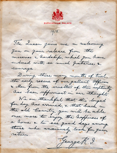 Letter from King George V to British POW's On Their Release in 1918