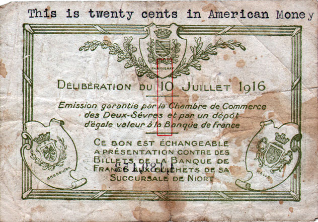 French currency used by soldiers stationed in france gg archives - Chambre de commerce niort ...