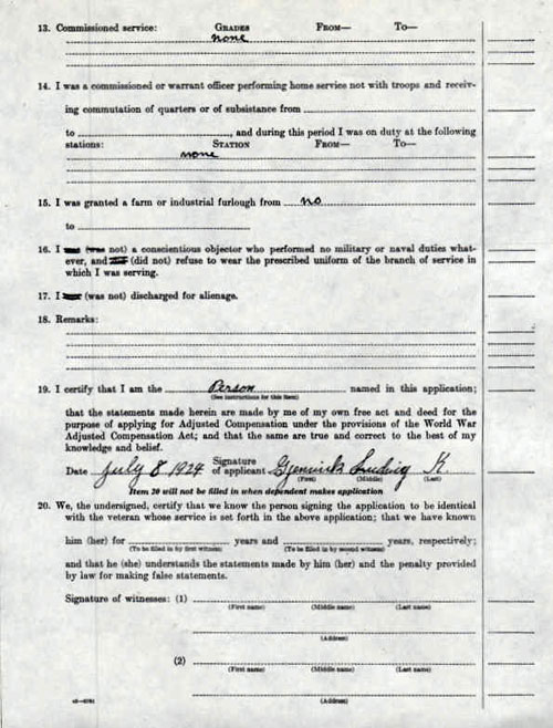 Page Three of Application for Adjusted Compensation for Service in Army