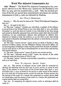 World War Adjusted Compensation Act (As Amended)