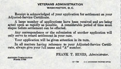 Receipt for Application of Settlement - Adjusted Service Certificate