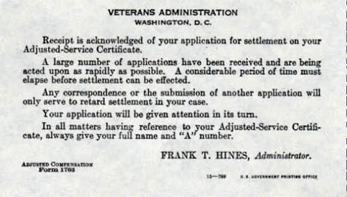 Receipt for Application for Settlement - Adjusted Service Certificate