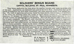 Receipt of Soldiers' Bonus Application by the Soldiers' Bonus Board