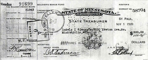 Voucher 91699 State of Minnesota Payment for Soldiers Bonus 1920