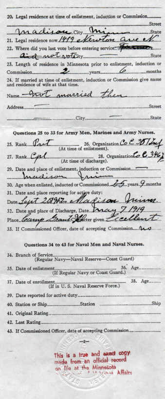 Minnesota Soldiers Bonus Application Page 1