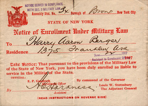 Notice of Enrollment Under Military Law - State of New York