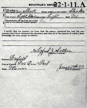 World War One Registration Card