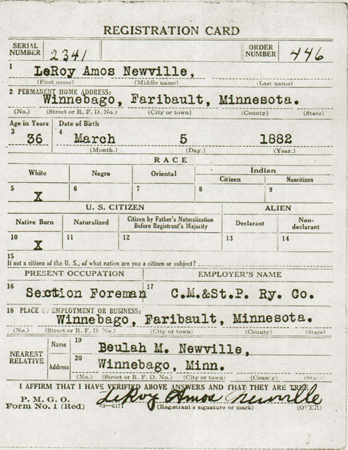 Registration Card  World War I  Second Version   Gg Archives
