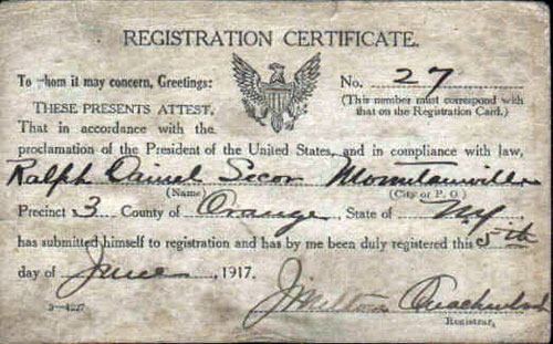 Registration Certificate - Secor - World War I