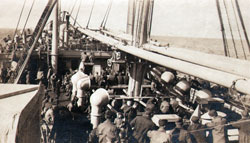 Soldiers on the deck of Steamships during World War One