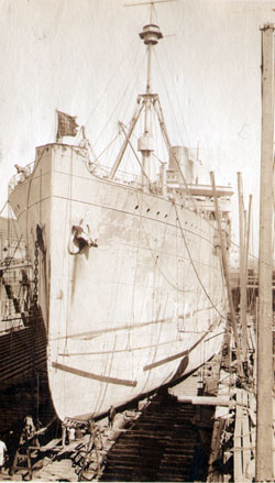 U.S.S. Princess Matoika in Dry Dock at Norfolk VA, March 1919.
