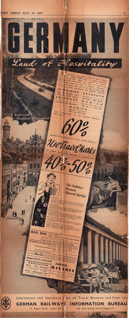 German Tourist Print Ad - London Times in July 1939