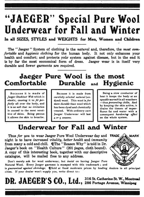 """JAEGER"" Special Pure Wool Underwear for Fall and Winter"