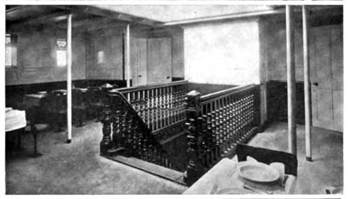 View of Stairway and Partial View of Dining Room on SS Gothland