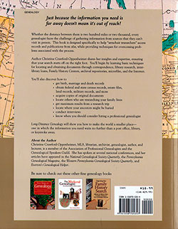 Back Cover - Long-Distance Genealogy: Researching Your Family History From Home
